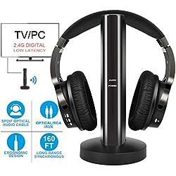 Casque TV Sans Fil avec 2.4GHz Numérique émetteur , Casques écouteurs pour television avec Port Optique et Rechargeable Base
