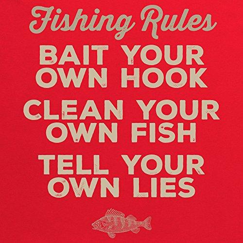 Fishing Rules T-Shirt, Herren Rot