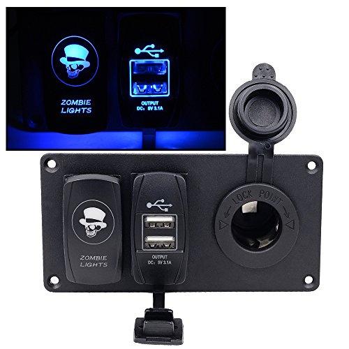 Samoleus LED Schaltpaneel mit Zigarettenanzünder Panel und Dual USB Ladegerät, 3 in 1 Marine Wippschalter für 12V-24V Motorrad Boot Marine (Zombie Lichtschalter) (Marine-schalter 6)