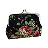 Best Broadfashion Womens Wallets - Rose Flower Printed Canvas Hasp Coin Purse Key Review