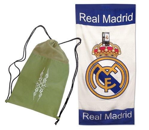 Toalla del REAL MADRID de 76x152cm , 100% algodón. Producto Oficial del Real Madrid, con licencia. Con Practica mochila de Regalo!