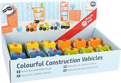 Small Foot 10633 - Pie de construcción para vehículos en Ruedas (Madera, 4 diseños Diferentes, Rodillo, Excavadora, Mezclador de hormigón o camión, en Variantes de Colores, Ideal Recuerdo)