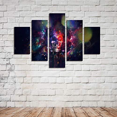 DYCHJD Fünf Stücke Set Kein Rahmen Hd Gedruckt Blutigen Schädel Gedruckt Ölgemälde Leinwand Wohnkultur Wandkunst -