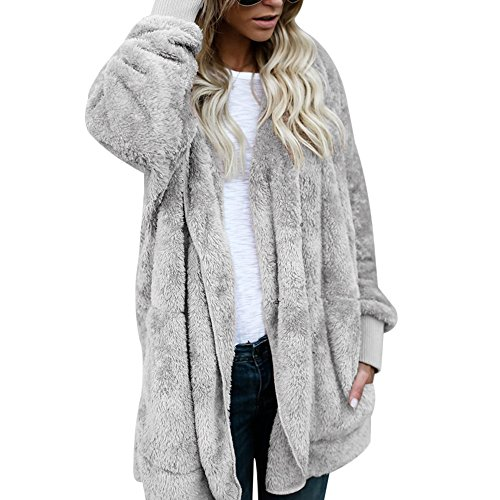 Shujin Damen Winter Warm Plüsch Teddy-Fleece Mantel Outwear Cardigan Langarm Casual Kapuzenjacke Baggy Parka Trench Coat mit Taschen (L, Grau) (Langarm Teddy)