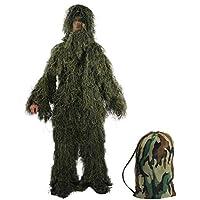 Latinaric- Traje de camuflaje para cazar con hojas en 3D que incluye un pantalón, una chaqueta, una capucha, una funda de pistola y una bolsa para guardar (5 piezas), camuflaje (jungle), talla única