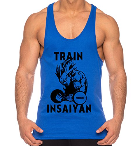 Vegeta Train Insaiyan de los Hombres Camisa del músculo One Goku Dragon Master Son Ball Vegeta Turtle Roshi Piece Gym, Farbe2:Azul;Größe2:XXL