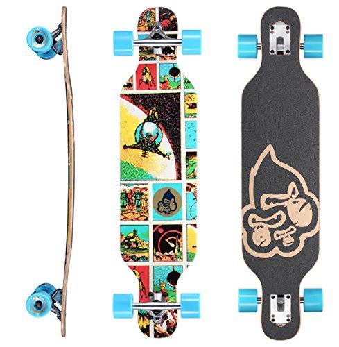 BIKESTAR Premium Canadian Maple Drop Through Flush Cut Pro Longboard Skateboard für Kinder auch Anfänger ab ca. 6-8 Jahre ★ 65mm Kids Cruiser/Dancer Edition ★ Comic Space Invader Design