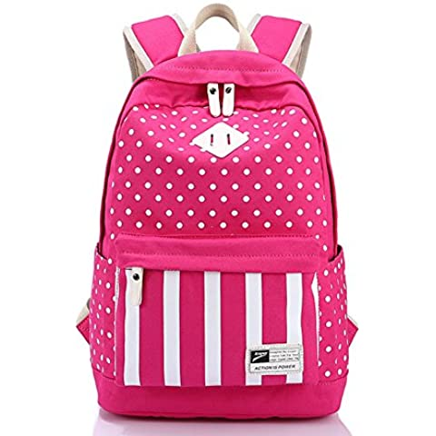 folowish–Tela Zaino Zaino Borsa Shool Bookbags Borsa a righe a pois per donne ragazze/Scuola/Outdoor/viaggio/trekking/escursionismo