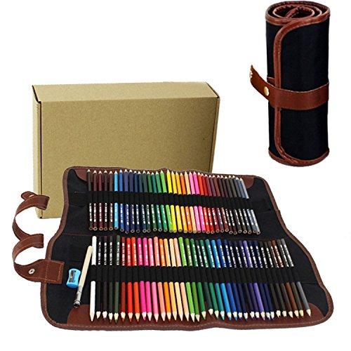 PIDD Öliger Bleistift Fettbleistift mit Leinwand Buntstift Wrap für Färbung oder Manga Malbücher Zeichnungen (72 Farbes)