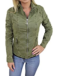 Evoga Giubbotto giacca donna verde casual giubbino Parka in cotone cfe6a78e54cc