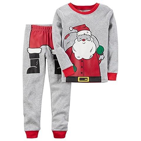Christmas Santa Claus Kinder Baby Lange Hülse Tops Hemd Hose Jungen Mädchen Outfits Set Kleider Sankt Claus Muster Hirolan (90cm, (Weihnachten Sankt Bären)