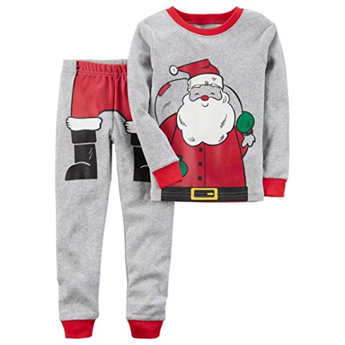 Christmas Santa Claus Kinder Baby Lange Hülse Tops Hemd Hose Jungen Mädchen Outfits Set Kleider Sankt Claus Muster Hirolan (100cm, Grau)