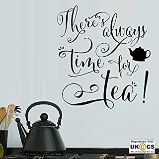 Tea Time Kitchen Café Family Quote Wall Art Stickers Decals Vinyl Home Room Bedroom Boys Girls Kids Adults Home Livingroom Quotes Kitchen Bathroom Accessories Mural
