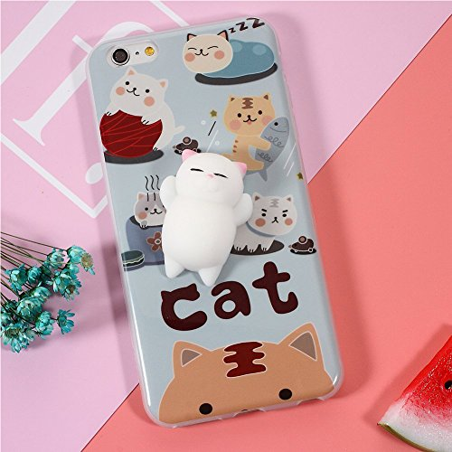 Coque iPhone7,Aliyao iPhone case Étui en plastique squishy 3D Squishy avec Soft Silicon Cute Animal Squeeze Stress Reliever Phone Cover pour iPhone 6/6S Plus,iPhone7/7Plus (iPhone7, chat 5) chat1