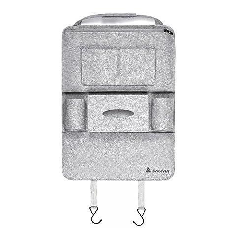 Salcar - Voiture Siège arrière Organisateur auto multi-pocket sacs de rangement en feutre en forme de sièges d'auto permettant le stockage des boîtes et pour ipads .CD, etc - Gris