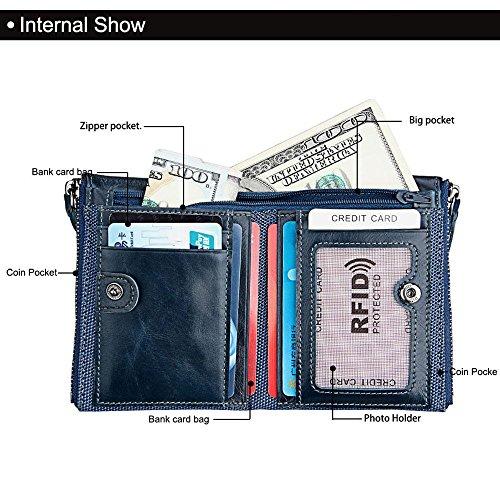 Pawaca Männer RFID Blocking Wallet Echtes Leder Doppel Reißverschluss Bifold Brieftasche mit Münze Kartenhalter Blau