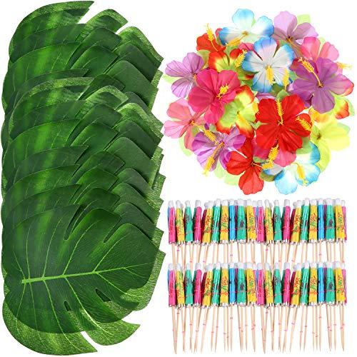 98 Stück Hawaiian Luau Thema Party Dekorationen, inkl. 24 Stück Tropische Palmenblätter, 24 Stück Luau Blumen und 50 Stück Mehrfarbige Regenschirme