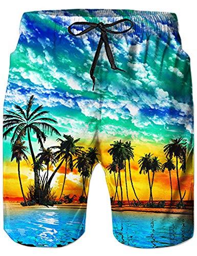 Loveternal Hawaii Badehose 3D Schnell Trocknend Palmen Badehose Lustig Coole Badeshorts für Männer Blau XL
