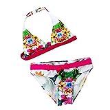 Mädchen Bikini Kinder Mädchen Baby 2tlg Neckholder Fransen Bikini Tankini Set Schwimmanzug Badeanzug Bademode (146/152, Rosa)