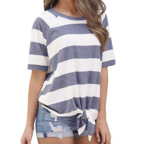 VEMOW Neue Design Damen Mädchen Frauen Sommer Casual Täglichen Sport Streifen Druck Knoten T-Shirt Kurzarm Tops Bluse Pulli Tees(Blau, EU-42/CN-M (T-shirt-designs Bowling)