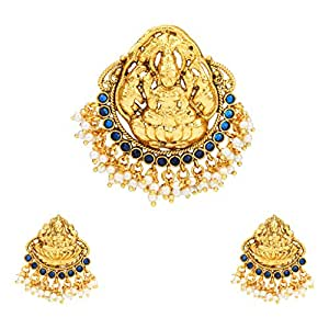 Adiva South Indian Temple Blue Copper Alloy Jewellery Set with Pendant And Earrings For Women
