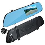 Prevently Autokamera Dashcam Auto Dash Camera 4,3 Zoll HD 1080 P Rückspiegel Monitor Auto DVR Kamera Recorder Dash Cam mit HD Rückfahrkamera (Wie Gezeigt)