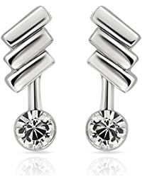 Mahi Rhodium Plated Bold Delight Earrings With Crystals For Women ER1103689RC