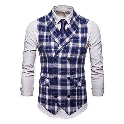 Keepline Herren Tweed Anzug Weste zweireihig Casual Weste Schal Revers Weste Business Suit Weste - Blau - S -