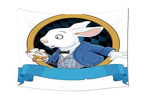 Dekorationen Kollektion Kaninchen mit Taschenuhr Design Amazing Alice Fantasy World Schlafzimmer Wohnzimmer Wohnheim Wand Wandteppiche Blau Weiß Golden, mehrfarbig, 59W By 39.3L Inch (Großhandel Disney Stoff)