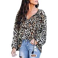 LILICAT® Estampado de Leopardo con Cuello en V Top de Gasa, Moda Mujer Leopardo Camiseta Superior Ocasional de Las señoras Suelta de Manga Larga Blusa Superior (S/M/L/XL)