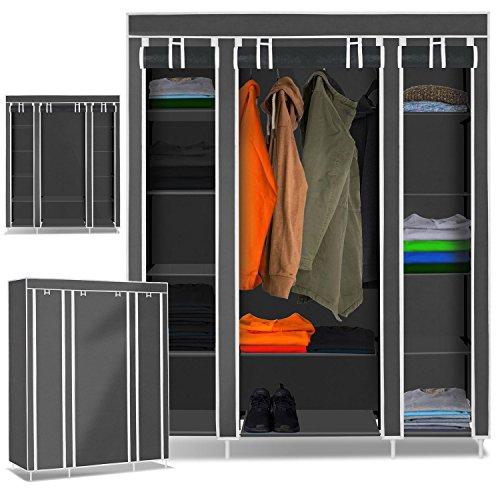 Kesser XXL Stoffschrank Kleiderschrank Faltschrank Schrank Faltbar Garderobe, Farbe:Grau