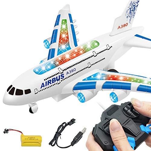 QHJ Kinder Spielzeug,Fernbedienung Flugzeug,Elektrische,Realistische Flugzeug Jet Engine Sounds, Änderungen Richtung Auto für Kinder (Blau)