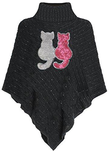 Kinder Poncho Wende Pailletten Katzen Streichel Cape Schwarz Size M (134-140) (Cape Schwarz Kind)