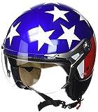 SOXON SP-325 Usa · Jet-Helm Vintage Helmet Scooter-Helm Pilot Mofa Retro Vespa-Helm Bobber Cruiser Motorrad-Helm Roller-Helm Chopper Biker · ECE zertifiziert · mit Visier · inkl. Stofftragetasche · Blau · XL (61-62cm)