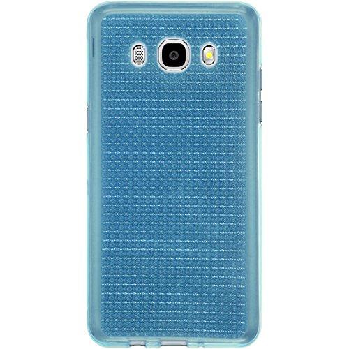 PhoneNatic Case für Samsung Galaxy J5 (2016) J510 Hülle Silikon gold Iced Cover Galaxy J5 (2016) J510 Tasche + 2 Schutzfolien Hellblau