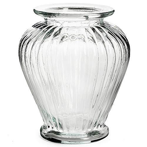 Vase aus Glas Vintage in geriffelter Optik 16 x 20 cm - Blumenvase - Tischvase - Glasvase für die Tischdeko (Glas Vase Vintage)