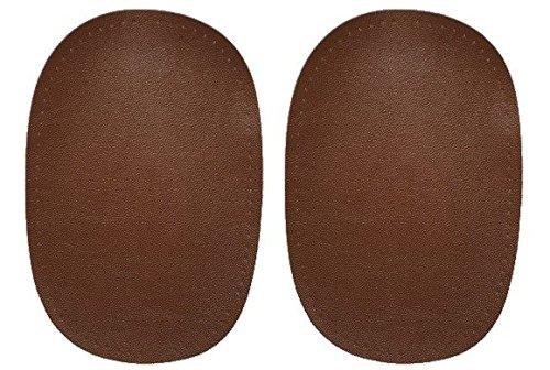 alles-meine.de GmbH 2 tlg. Set ovaler Flicken - mittel braun Leder 10 cm * 15 cm Aufnäher zum...