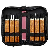 Talla de madera del cuchillo de la mano cinceles Kit de herramientas para los carpinteros con la piedra de afilar paquete profesional (12 PCS)
