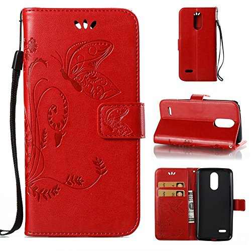 Solid Color Faux Leder Bookstyle Brieftasche Stand Case mit geprägten Blumen & Lanyard & Card Slots für LG K8 2017 European Edition ( Color : Coffee ) Red