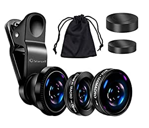 Act Universal 3 in 1 Mobile Phone Camera Lens Kit 180 Degree Fish Eye Lens + 2 in 1 Micro Lens + Super Wide Angle Lens for iPhone 6 Plus 5 5S 4S 4 iPad mini iPad 4 3 2 Samsung Galaxy S4 S3 S2 Note 4 3 2 1 Sony HTC Blackberry Smart phones (Black)