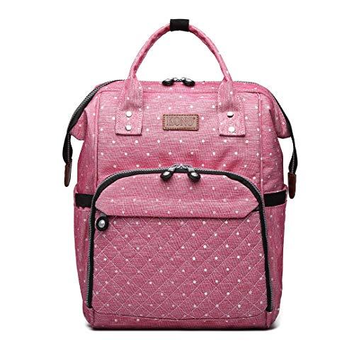 Rosa Tasche Organizer (Kono Windelwechseln Rucksack Handtasche für Babypflege hands-free-Rucksack-Organizer mit Kapazität, wasserdicht, Tasche (Punkte Rosa))