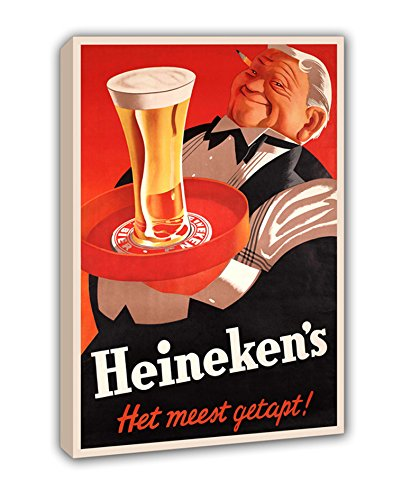 LIENZO CARTEL VINTAGE HEINEKEN. Size 50x75cm. Printed on high quality canvas. Total size of 50x75x2cm. Mounted on a frame of 2 cm thick. Matte finish. Very light