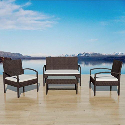 Chloe Rossetti Stahlrahmen + PE Rattan + Milch Glas Tischplatte Garten-Sofa-Set Sieben Stück Poly Rattan braun im Esszimmer Sofa Stühle mit creme weiß Kissen -