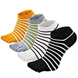 Zehensocken Damen Fünf Finger Socken aus Baumwolle, Damen Sneaker Socken mit Zehen für Sport Laufende Freizeit, atmungsaktive und bunte Socken, 4/5 Paare (Streifen 1-4 Paare, EU 36-41)