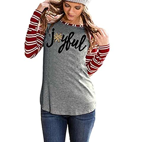 Webla Women Long Sleeve Striped Joyful Long Sleeve Baseball T-Shirt