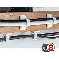 Tatkraft Jaw Clip Abrazaderas Cables Soporte Cepillo de Dientes Autoadhesivo, Juego de 8, Plástico Sin Perforar