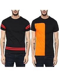 Veirdo Plain/Solid Half Sleeve Black Round Neck Men's Cotton Tshirt-Combo tshirt-pack of 2