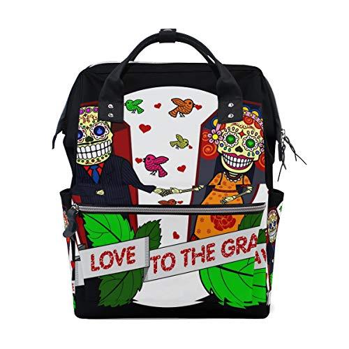 Gravis-laptop-taschen (Alinlo Wickeltasche Sugar Skull Love to The Grave Wickeltasche Wickelrucksack mit großer Kapazität Multifunktions-Kinderwagengurte Mumientasche für Reisen Baby Pflege)