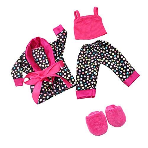 Gazechimp Puppenkeldiung Schlafanzug Pyjama, Mantel + Tops + Hosen + Pantoffel Schuhe, Bekleidung Für 18