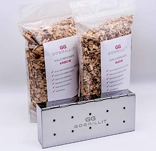 GOGRILLIT Räucherbox/Räucherschale - Premium Smoker-Box aus rostfreiem Edelstahl - das perfekte Grillzubehör zum Räuchern - für jeden Holzkohle- und Gasgrill geeignet (Metall, Set mit Räucherholz) - Grill Smoker Box